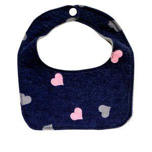 Navy Blue Fleece 2- Way Bib w/Pink Heart Print